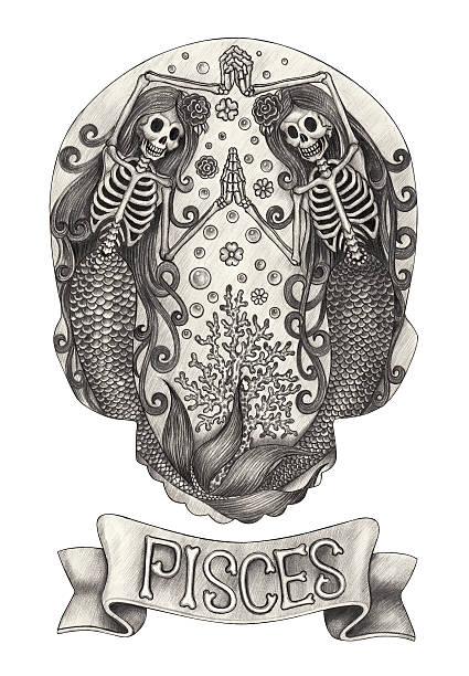 illustrations, cliparts, dessins animés et icônes de zodiac crâne pisces. - tatouages de sirène