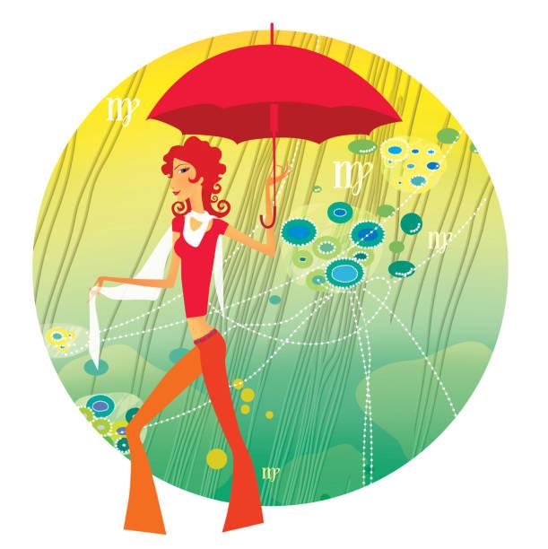 illustrazioni stock, clip art, cartoni animati e icone di tendenza di zodiac sports lady. virgo - woman portrait forest