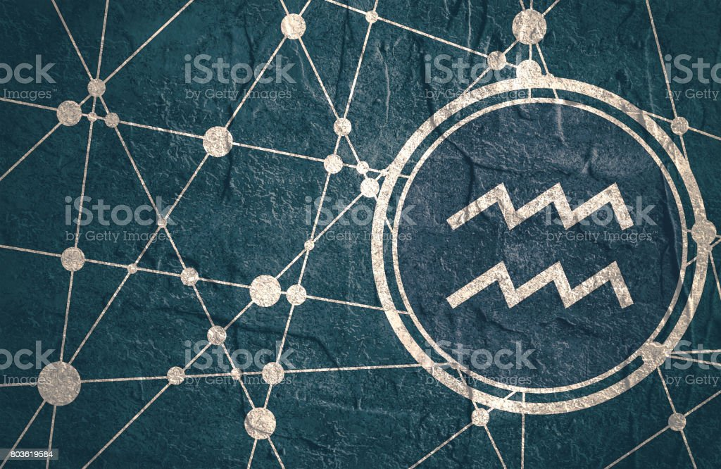 Zodiac symbol in circle on geometry backdrop vector art illustration