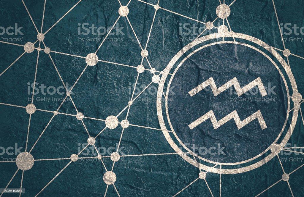 Zodiac symbol in circle on geometry backdrop vector art illustration