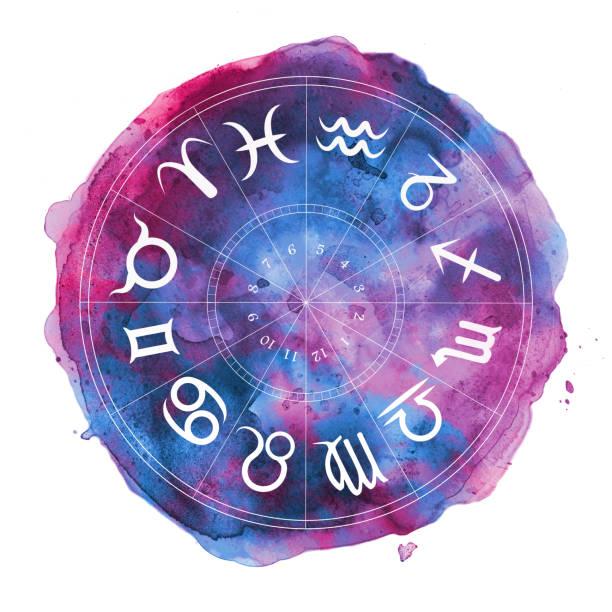 ilustrações de stock, clip art, desenhos animados e ícones de zodiac symbols in watercolor circle - astrologia