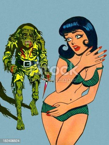 istock Zombie Coming After Woman in Bikini 152406524