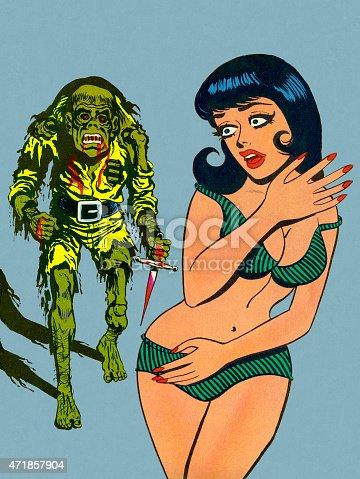 istock Zombie Coming After Woman in Bikini 471857904