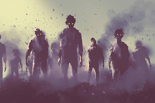 ilustraciones, imágenes clip art, dibujos animados e iconos de stock de zombie crowd walking at night,halloween concept - monstruo