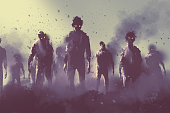zombie crowd walking at night,halloween concept