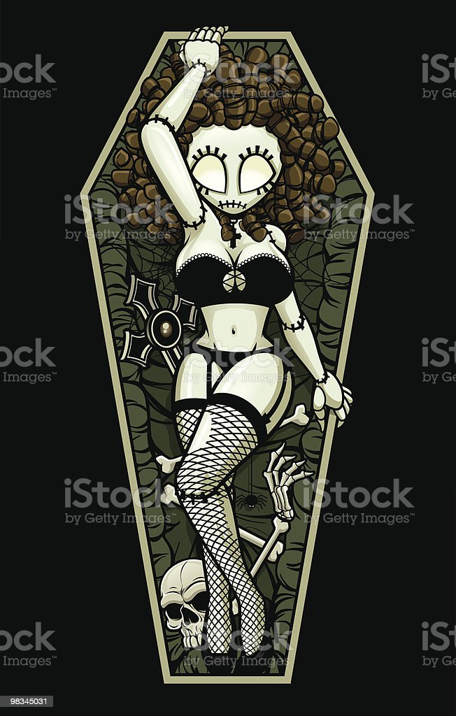 Zombie Pin-Up Girl: Coffin Wake royalty-free zombie pinup girl coffin wake stock vector art & more images of adult