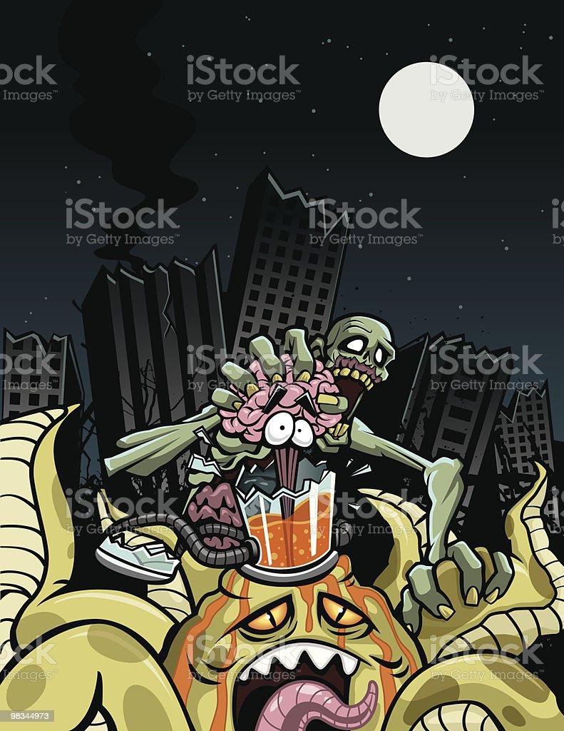 Zombie vs Alien: Battle for LA royalty-free zombie vs alien battle for la stock vector art & more images of alien