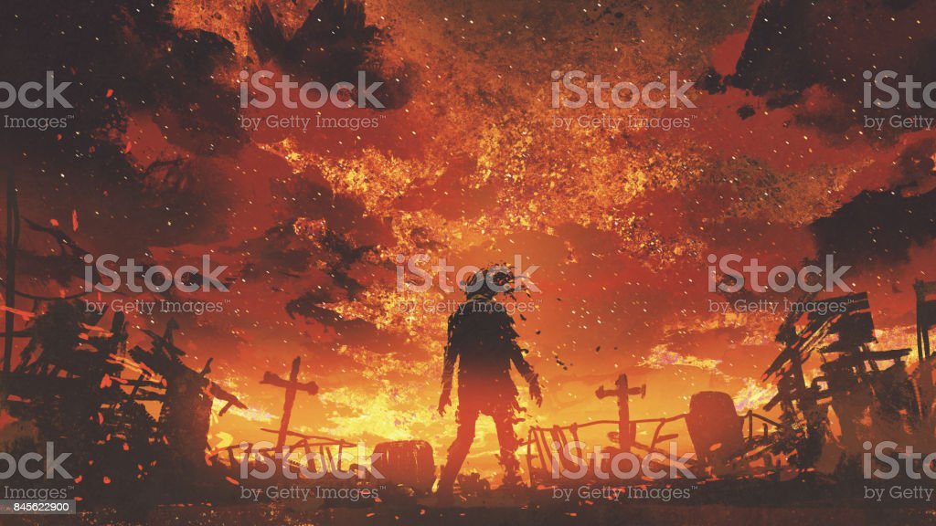 zombie walking in the burnt cemetery vector art illustration