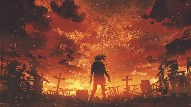 zombie walking in the burnt cemetery vector art illustration