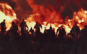 zombie walking through burning fire flames