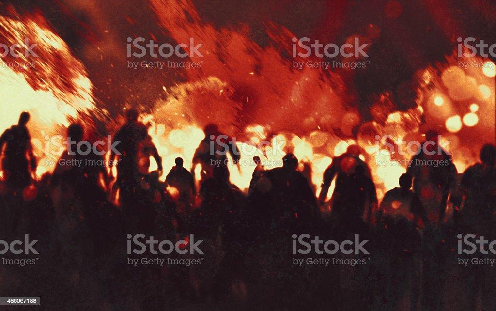 zombie walking through burning fire flames vector art illustration