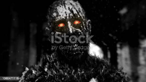 Zombie with glowing red eyes walking in hallway of abandoned house. Illustration in genre of horror. Scary monster character. Black and white color.