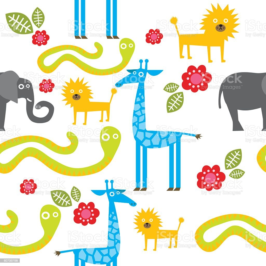 Zoo animals seamless pattern  Animal stock vector