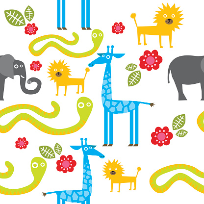 Zoo Animals Seamless Pattern Stock Illustration - Download Image Now