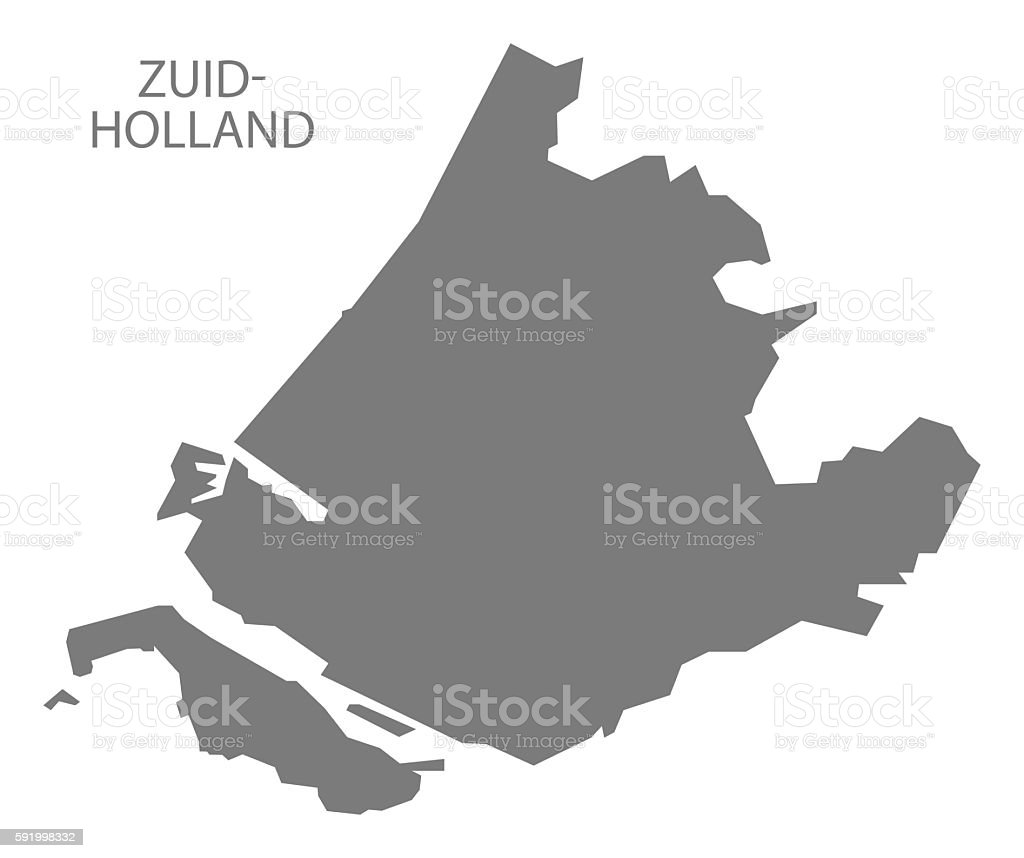 Zuidholland Netherlands Map Grey Stock Vector Art More Images of