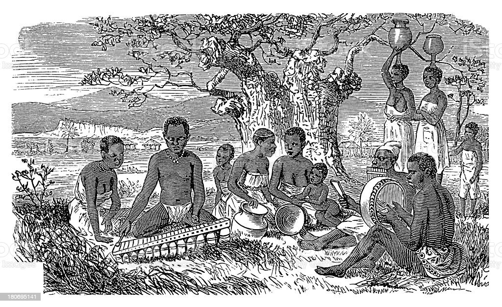 Zulu people, South Africa (antique wood engraving) royalty-free stock vector art