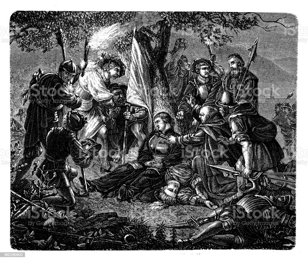 Zwingli's Death on the Battlefield of Kappel in 1531 royalty-free zwinglis  death on the