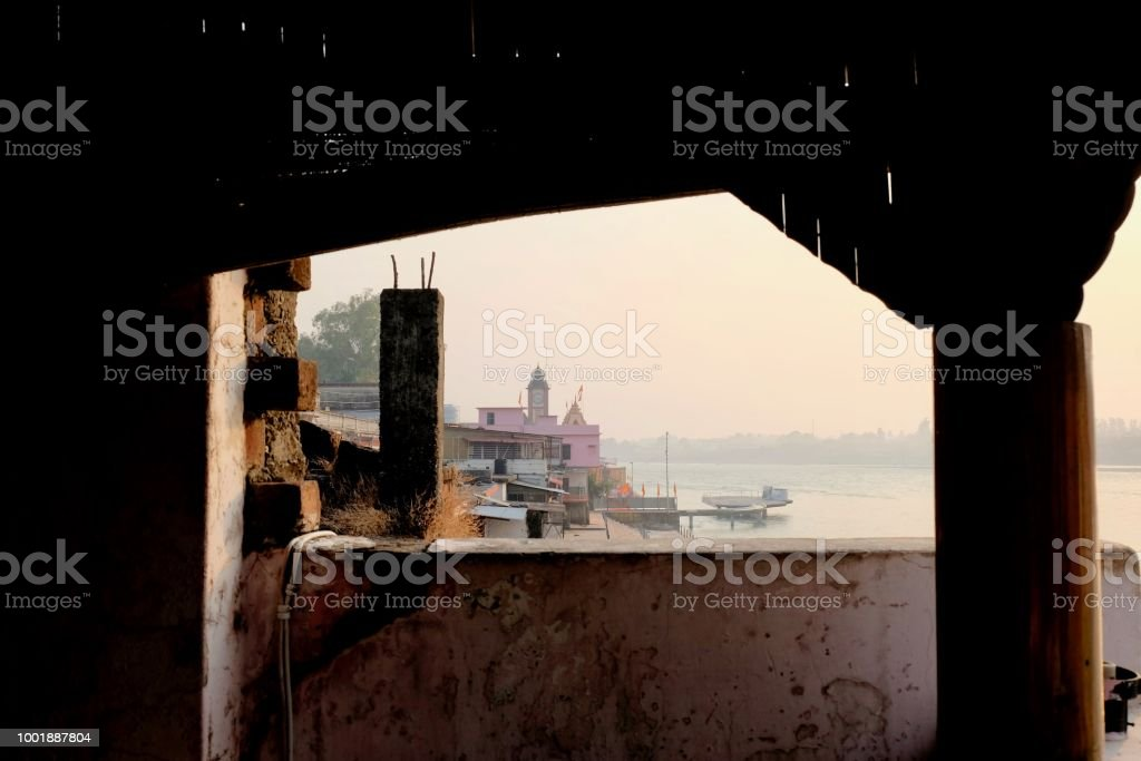 MISTY RIVER VIEW stock photo