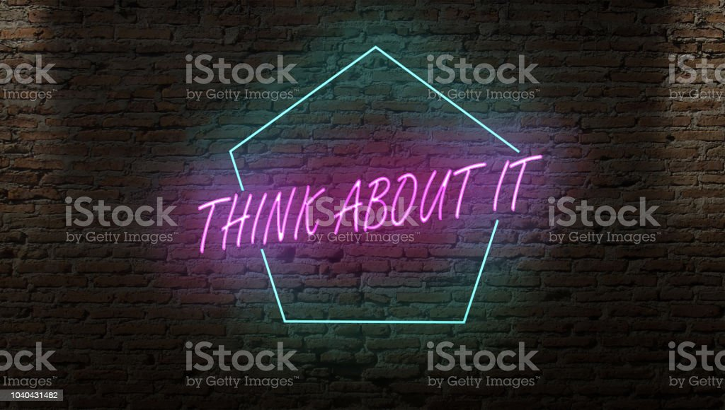 THINK ABOUT IT  SIGN ON A DARK ALLEY WALL NIGHT stock photo