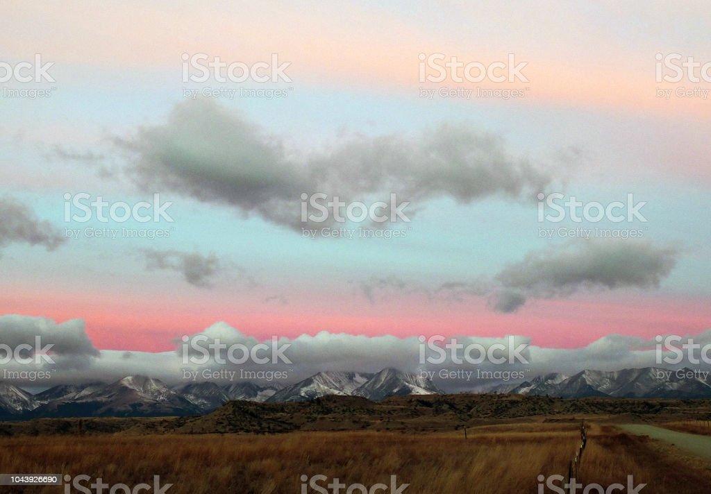 MOUNTAIN RANGE AT DUSK stock photo