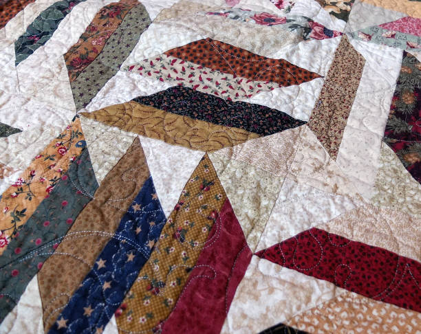 QUILT TOP WITH FRENZY PATTERN stock photo