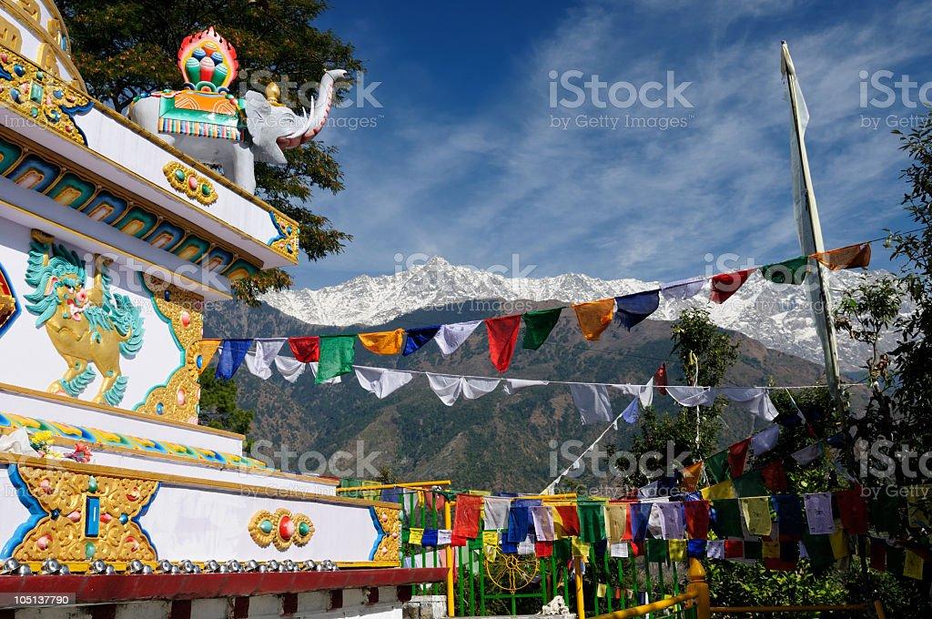 INDIA, DHARAMSALA Kalaczakra temple in Dharamsala, McLeod Ganj. Asian Elephant Stock Photo