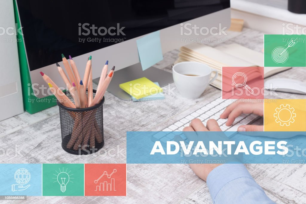 ADVANTAGES CONCEPT stock photo