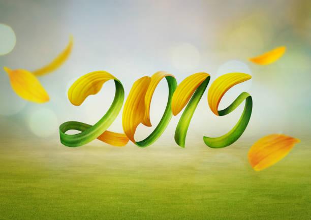 2019 - 3d typografie stock-fotos und bilder