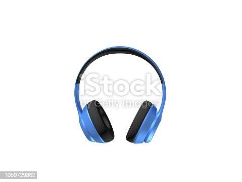 3D RENDER OF BLUE COLOR HEADSET