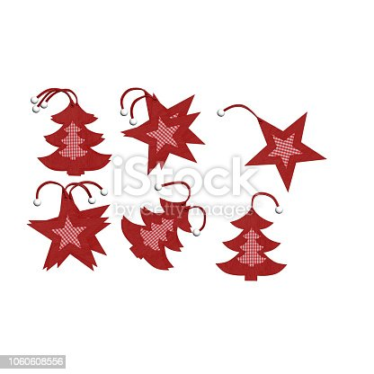 istock CHRISTMAS TREE AND STARS . 3D RENDER. 1060608556