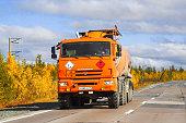 Yamal, Russia - September 8, 2014: Off-road semi-trailer truck KAMAZ 44108 at the interurban road.