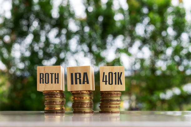 IRA ROTH 401K Wooden blocks with text IRA ROTH 401K. Business and finance concept. 401k stock pictures, royalty-free photos & images