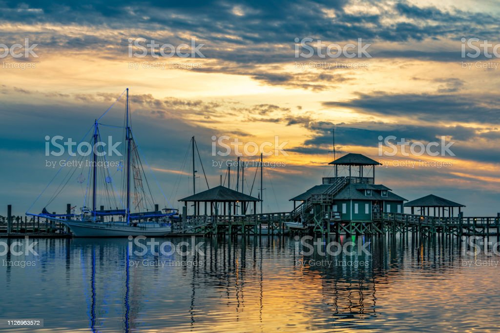 BILOXI SCHOONER AT SUNRISE stock photo