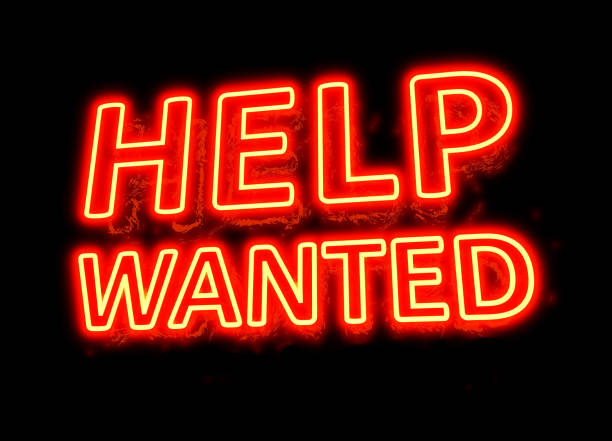 NEON HELP WANTED SIGN - NEON RECRUITMENT SIGN Neon Store Sign Series help wanted sign stock pictures, royalty-free photos & images