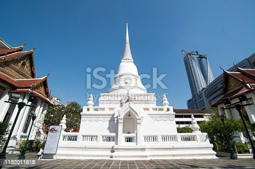 the architecture of the Wat Pathum Wanaram in the city of Bangkok in Thailand in Southeastasia.  Thailand, Bangkok, November, 2018