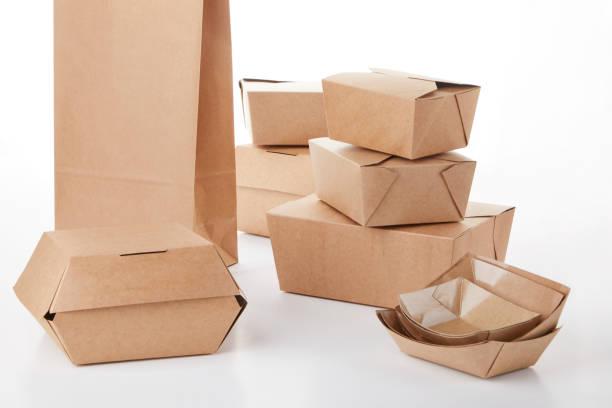 set of recyclable tupperweare to carry - biodegradabile foto e immagini stock