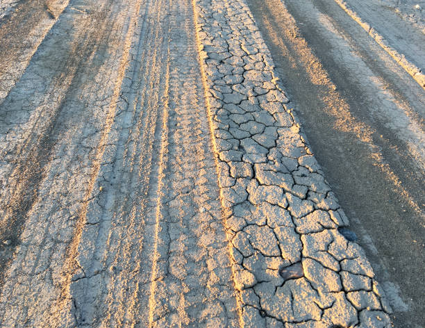 TIRE TRACKS IN DRIED MUD stock photo