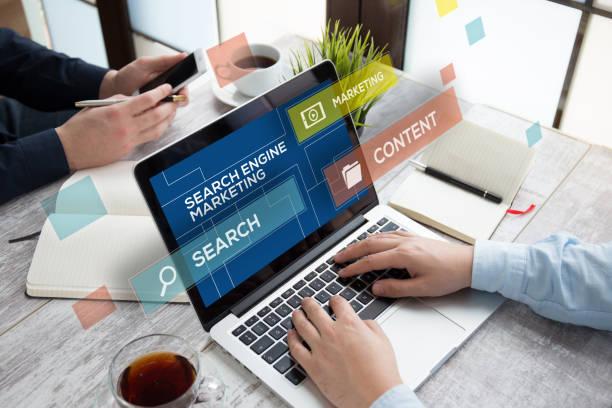 search engine marketing concept - micrografia elettronica a scansione foto e immagini stock