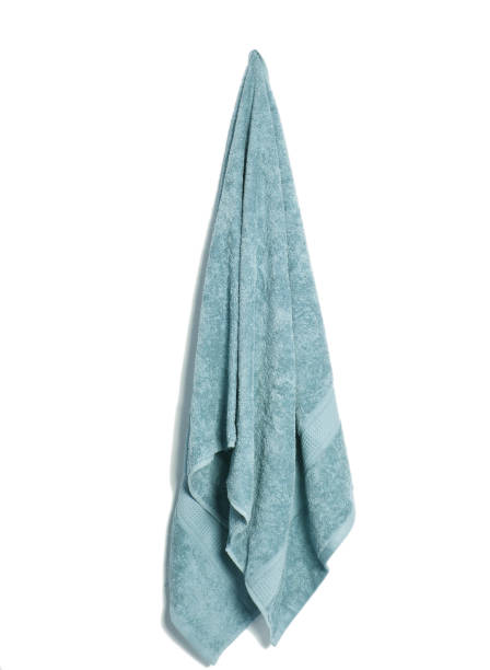 hanging cotton soft bath towel isolated - icon set healthy foto e immagini stock