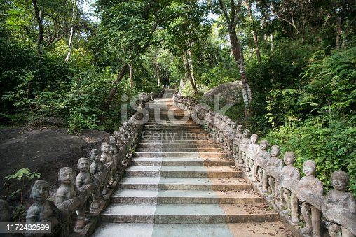 the stairs and Path a the Phnom Santuk Temple near of the city of Kampong Thom of Cambodia.  Cambodia, Kampong Thom, November, 2017,