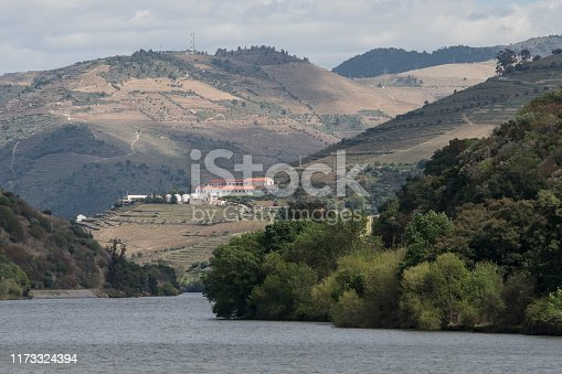 the Landscape of the Douro River betwen the towns of Reso da Regua and Pinhao east of Porto in Portugal in Europe.  Portugal, Regua, April, 2019
