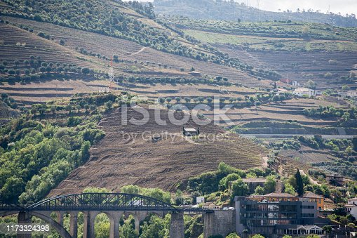 a winery in the Landscape of the Douro River at the town of Reso da Regua, east of Porto in Portugal in Europe.  Portugal, Regua, April, 2019