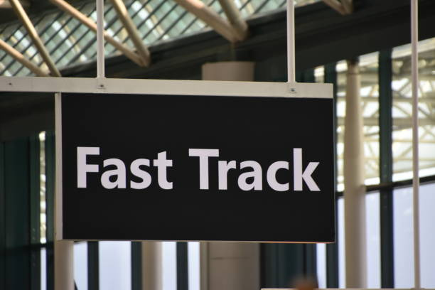 FAST TRACK IN THE AIRPORT stock photo