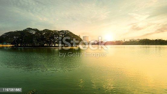 ULSOOR LAKE MORNING SUN RISE BANGALORE KARNATAKA INDIA