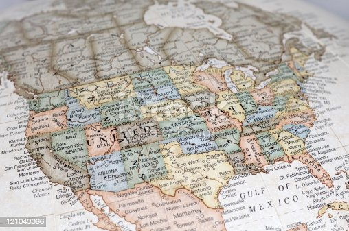A close-up/macro photograph of the United States of America from a desktop globe. Adobe RGB color profile.