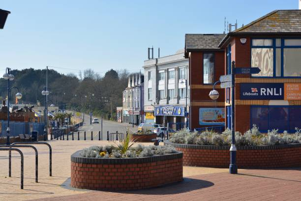 LOCKDOWN IN BARRY ISLAND, THE EMPTY PROMENADE AND BEACHES stock photo