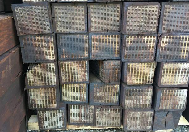 RAILROAD TIE GRID stock photo