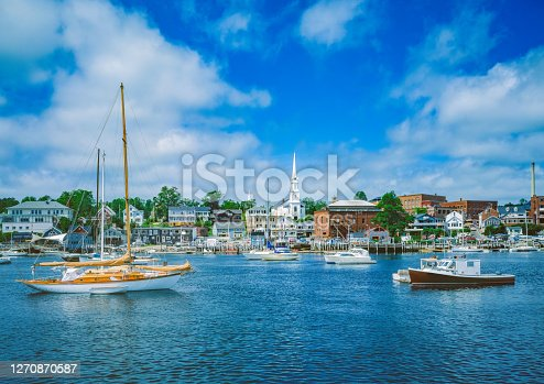 SUMMER MORNING WITH CALM HARBOR WATERS AT CAMDEN MAINE