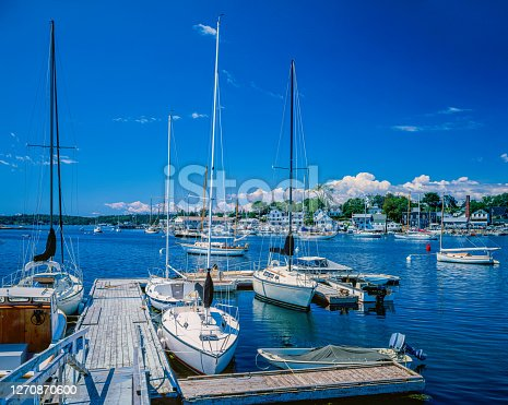 BRIGHT SUMMER MORNING ON THE MAINE COAST AT BOOTHBAY HARBOR, MAINE