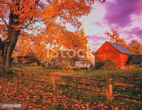 RED BARN AND FARM AT DAWN, PRACHAM VT